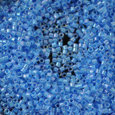 Delicas - 11/0 Japanese Cylinders - Light Blue Lined Crystal AB (50 g)