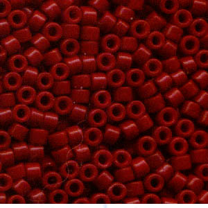 Delicas - 11/0 Japanese Cylinders - Dyed Opaque Cranberry (50 g)