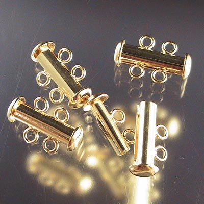 Clasp - 2-Strand Slide Tube - Gold Plated