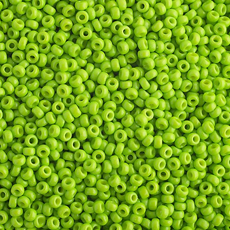 Japanese Seedbeads - 15/0 Miyuki Seedbeads - Bright Lime Opaque [Duracoat] (250 grams)