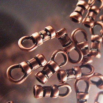 Crimp End with Loop - Small For Chain or Wire - Antiqued Copper (10)