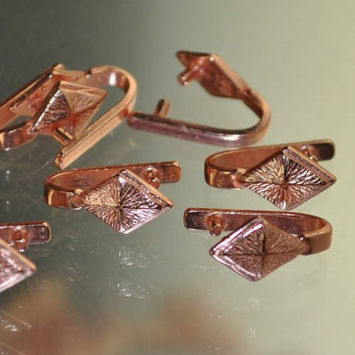 Pinch Bail - Diamond Dome - Bright Copper