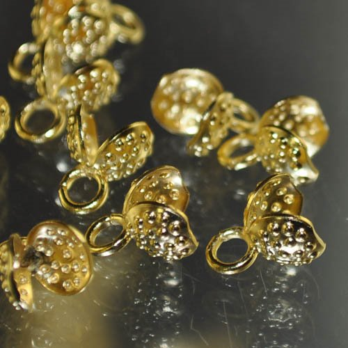 Clamshell Bead Ends - Textured with Closed Loop - Goldplated