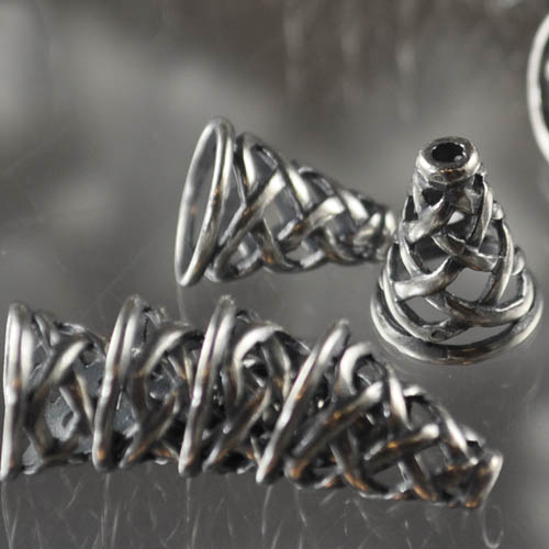 Bead Cone Basketweave 13mm - Antiqued Silver