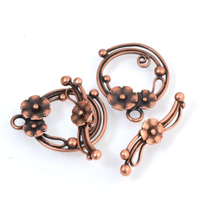 Toggle Clasp - Nosy Posy - Antiqued Copper