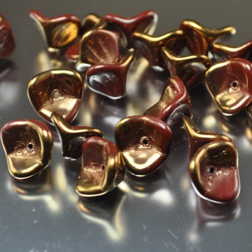 Glass Flower Beads Trumpet Lily 12x8mm - Mahogany Lustre Manager Special
