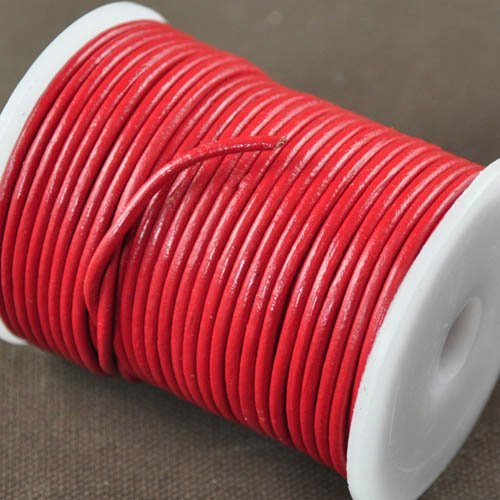 Stringing - 2mm Leather Cord - Chinese Red (1 Metre)