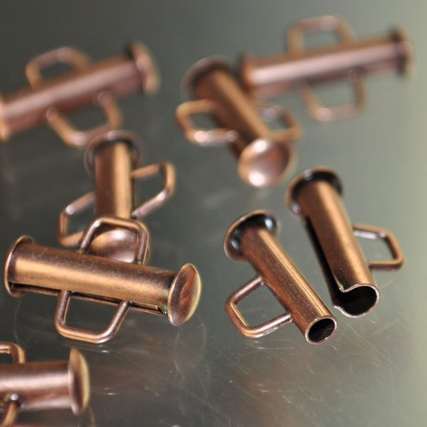 Clasp - Small Slide Tube - Antiqued Copper