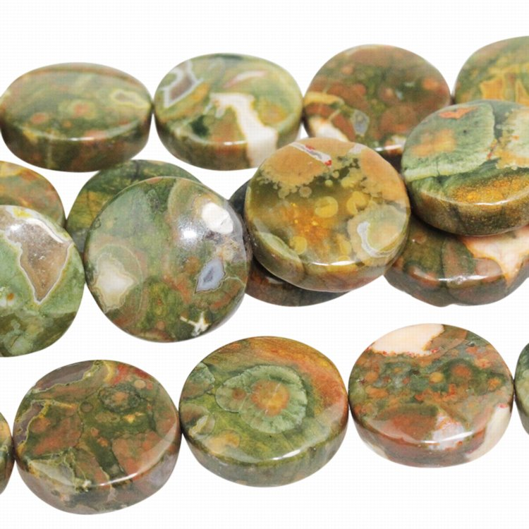 Stone Beads - 12mm Coin - Rhyolite (strand)