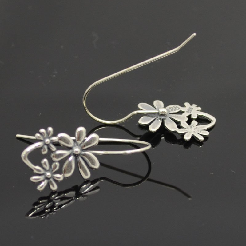Earring - Triple Flower Earwire - Antiqued Sterling (Pair)