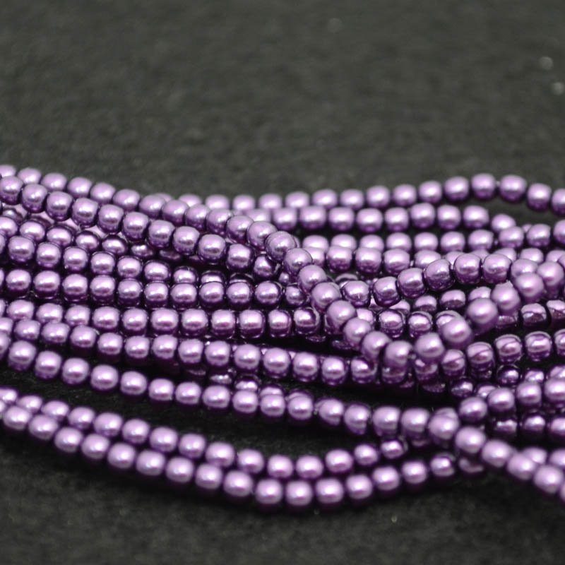 Glass Pearls - 2mm Round - Violet (strand 150)