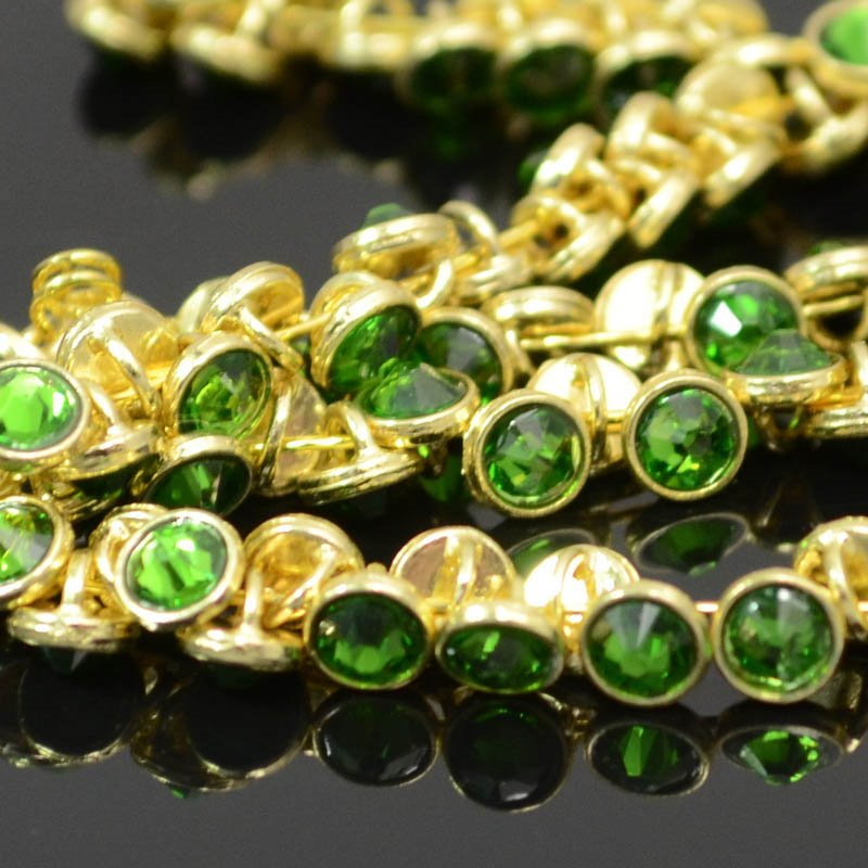 Crystaletts - 4mm Rhinestone Button - Fern Green / Gold (20) Manager Special