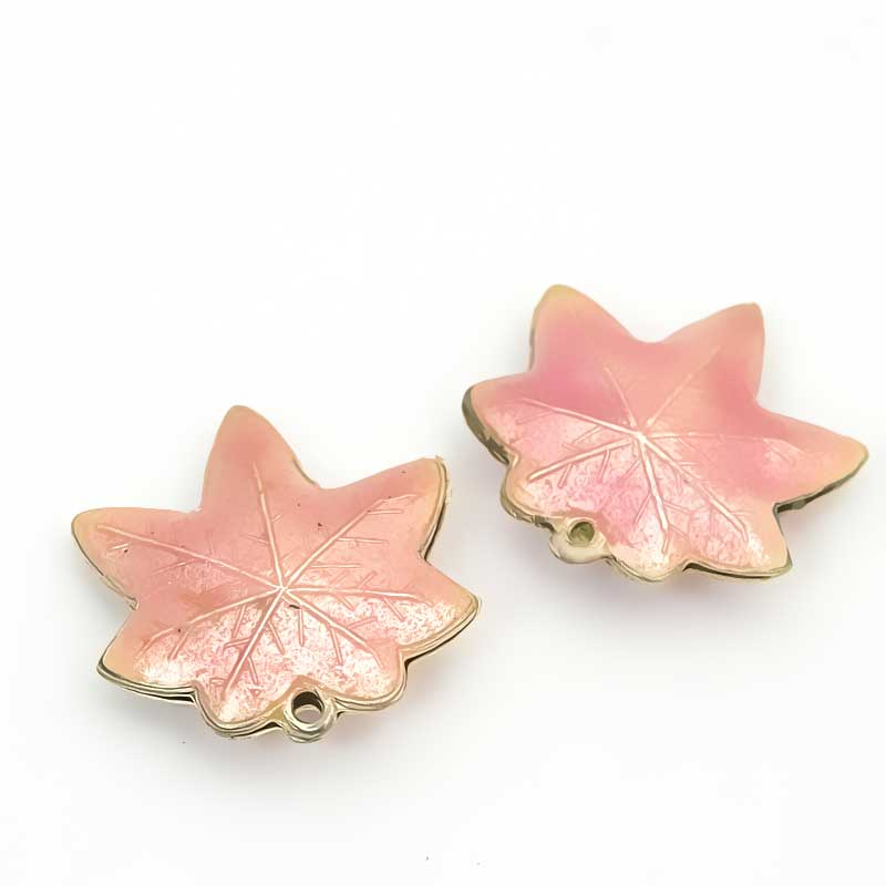Cloisonne - Maple Leaf - Palest Rose - Gold