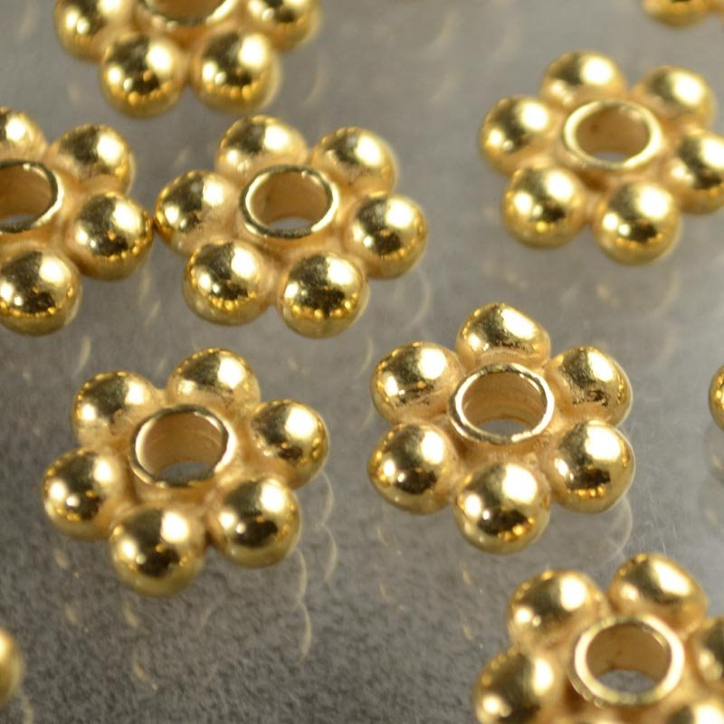 Metal Beads - Big Hole Big Balls Daisy Spacer - Gold Plated