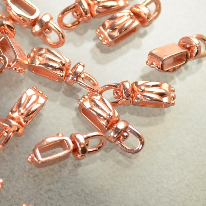 Bail - Tri-Leaf Rectangle - Bright Copper
