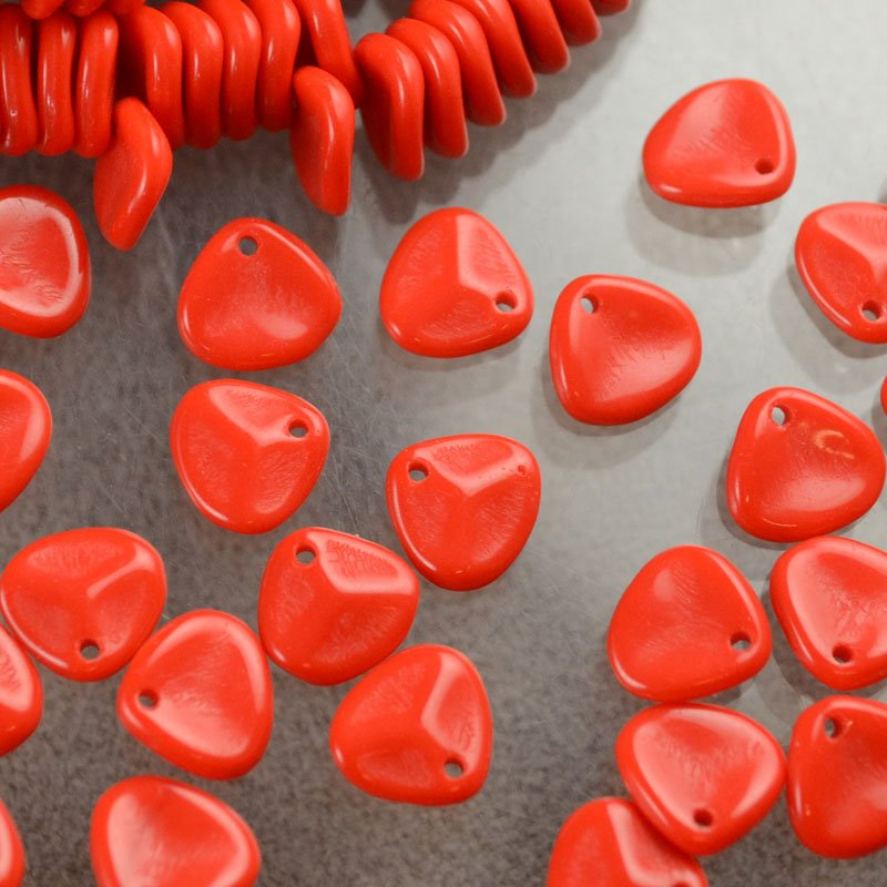 Glass Beads - 8x7mm Rose Petal - Fire Engine Red (25)