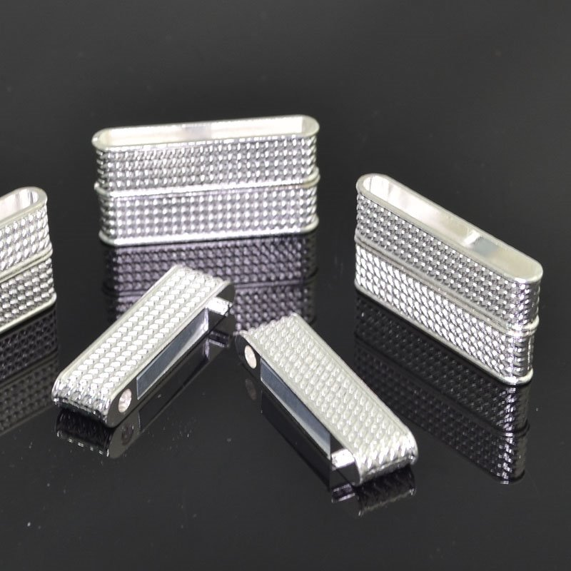 Magnetic Clasp - 37mm Chain Pattern Bar - Bright Silver