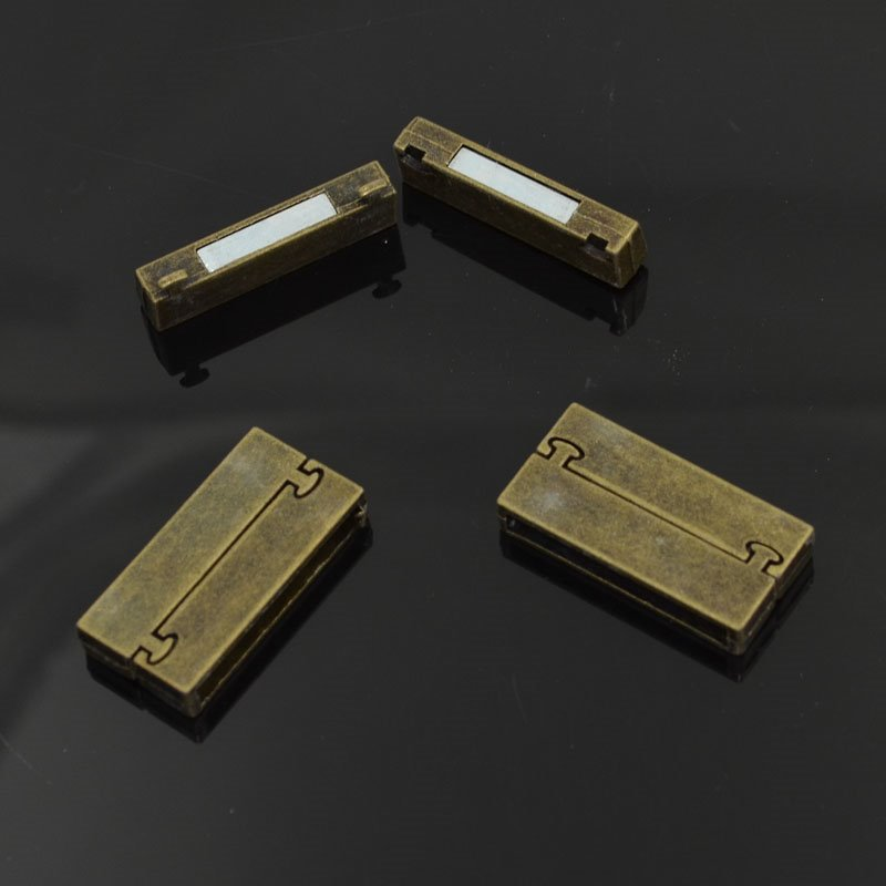Magnetic Clasp - Rectangle with Knob Pins - Antiqued Brass