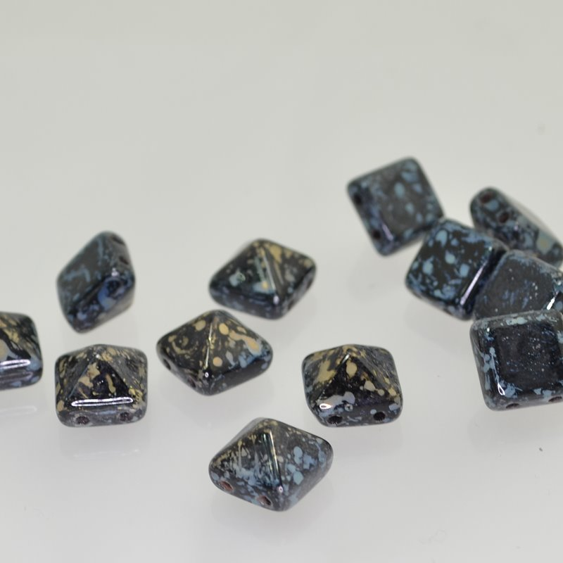 Glass Beads - 12mm Pyramid Studs - Jet Silver Picasso Manager Special