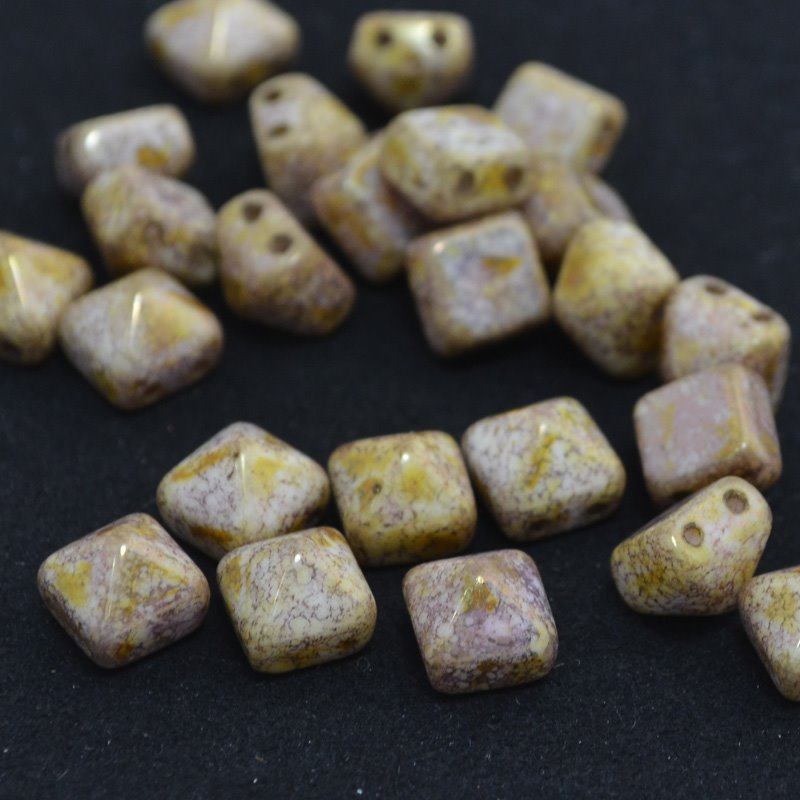 Glass Beads - 8mm Pyramid Studs - Chalk Bronze Lumi (6) Manager Special