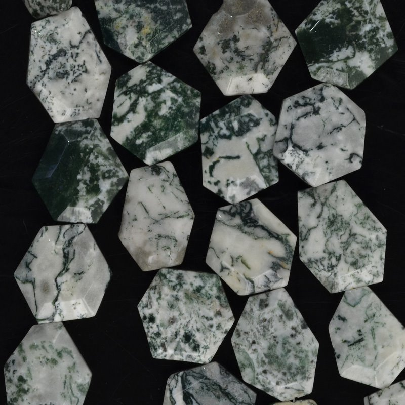 Stone Beads - Faceted Hexagon - Tree Agate