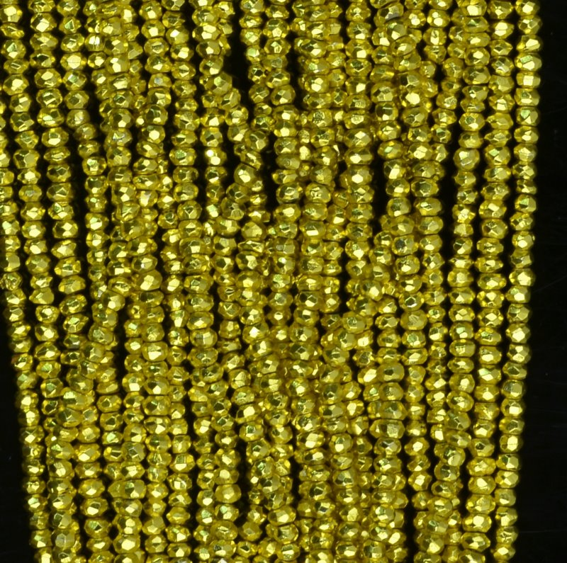 Stone Beads - Faceted Rondelle - Canary Yellow - Plated Pyrite (strand)