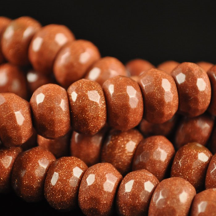 Stone Beads - 12mm Big Hole Faceted Rondelle Donut - Goldstone