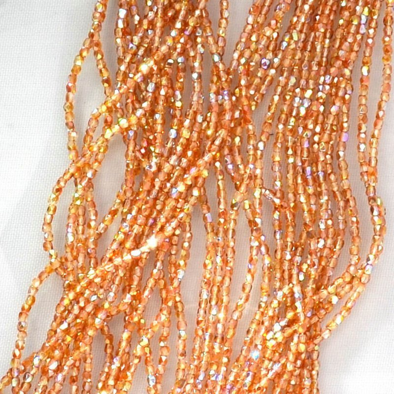 Firepolish - True 2mm Faceted Round - Crystal Orange Rainbow (strand 150)