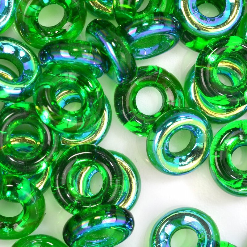Glass Rings - 10mm Cheerios - Chrysolite AB (25)