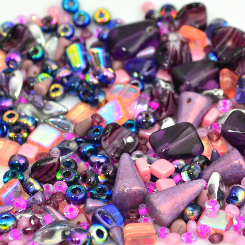 BeadFX Bead Mix - Czech Glass Mix - Plums n Peaches (Pack)