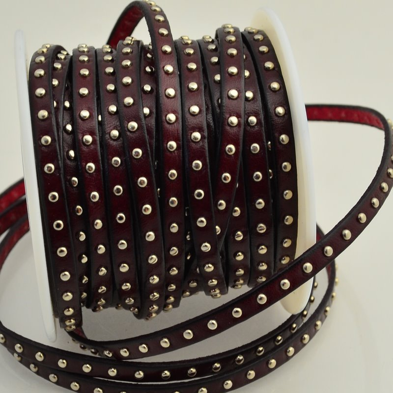 Leather - 5mm Studded Flat Leather - Dark Burgundy (Inch) Manager Special