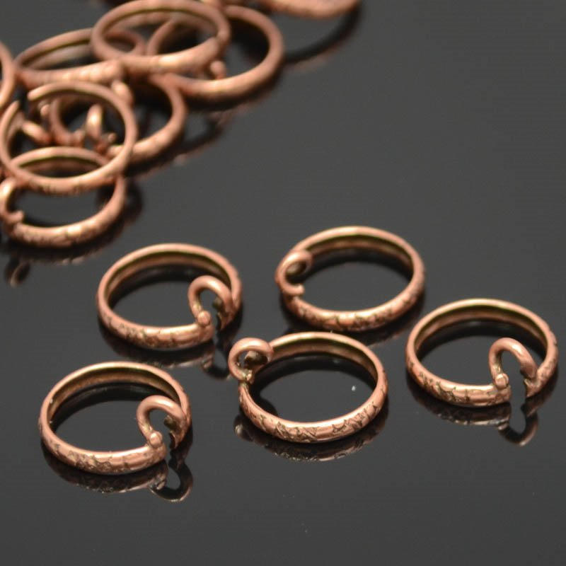 Findings - ID 10mm Channel Bezel Ring with Loop - Antiqued Copper Manager Special
