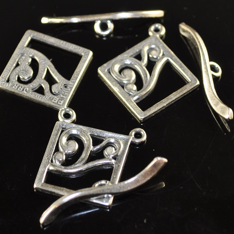 Toggle Clasp - Square with Curliques - Antiqued Silver