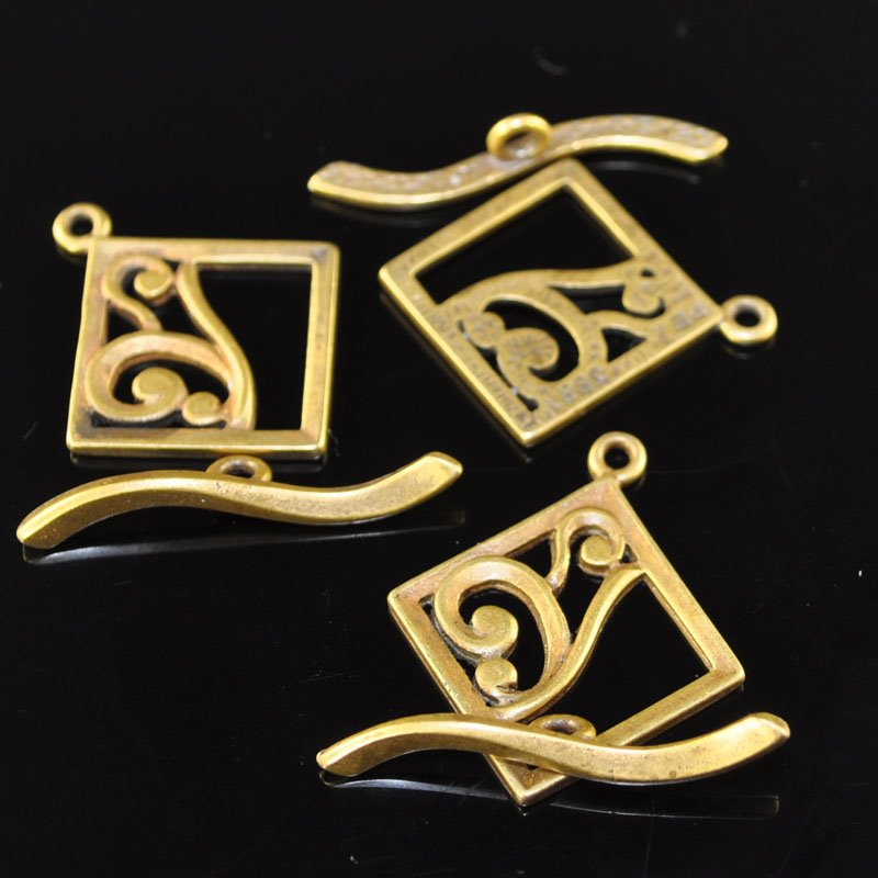 Toggle Clasp - Square with Curliques - Antiqued Brass