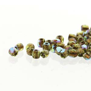 Firepolish - True 2mm Faceted Round - Olive AB Copper Lined (150)