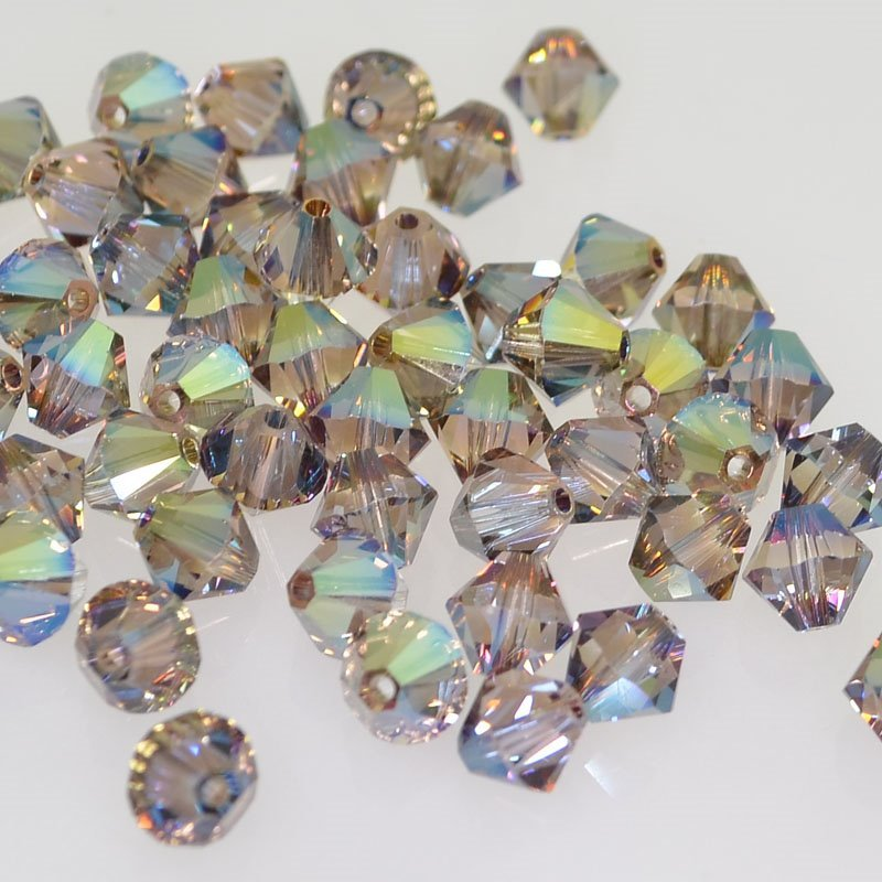 Swarovski Bead - 6mm Faceted Bicone (5301/5328) - Crystal Iridescent Green (12)