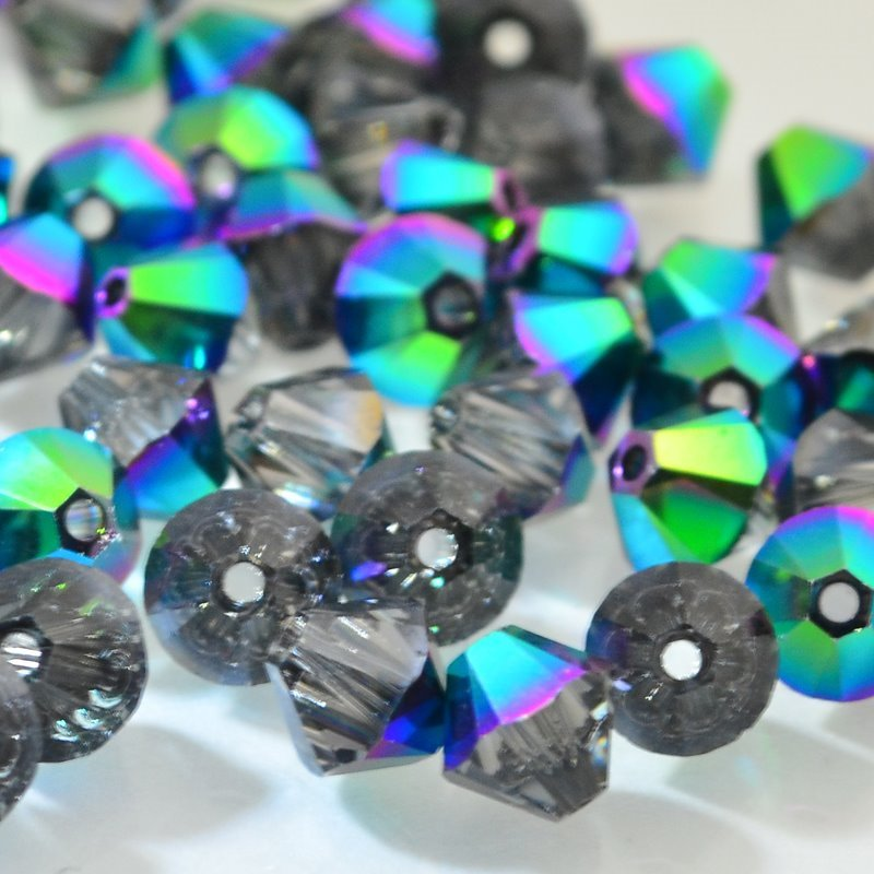 Swarovski Bead - 6mm Faceted Bicone (5301/5328) - Crystal Scarabaeus Green (12)