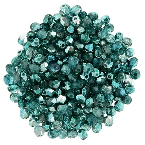 Firepolish - 2mm Faceted Round - Mirror Teal (Pack)