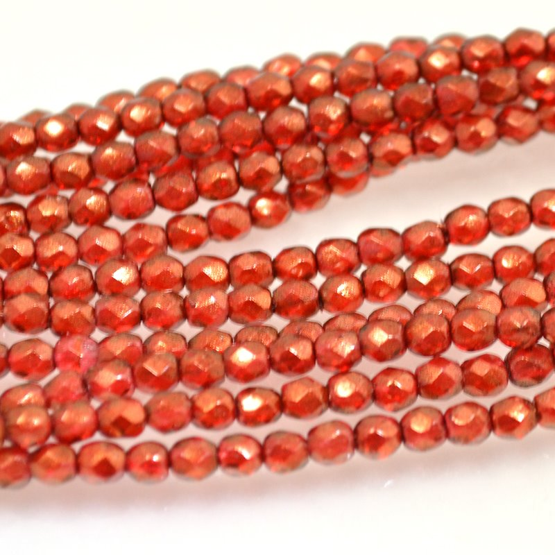 Firepolish - 3mm Faceted Round - Halo Cardinal (strand)