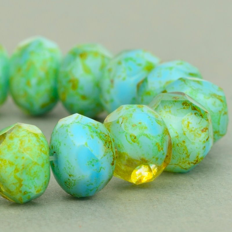 Czech Glass - 9x6mm Faceted Donut Rondelle - Citrine Turquoise Mix Picasso (25)
