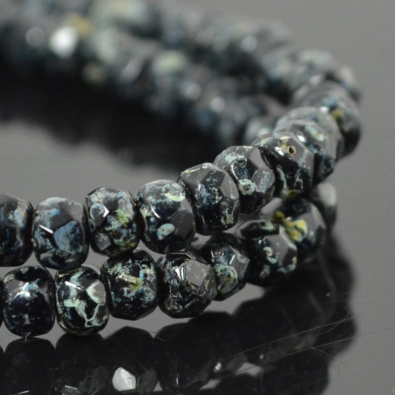 Czech Firepolish Glass - 3x2mm Faceted Donut Rondelle - Jet Picasso (Strand 50)
