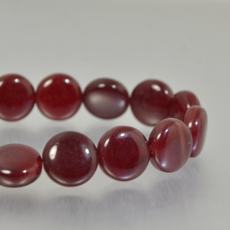 Czech Glass - 10mm Puff Coin - Garnet Opal (Strand 15)