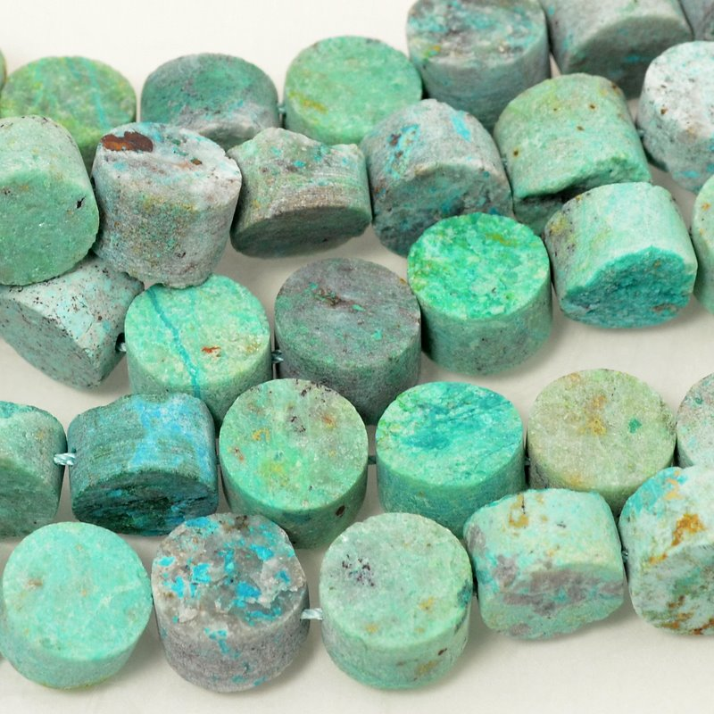 Stone Beads - 12mm Plug - One Side Rough - Chrysocolla