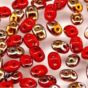 Czech Seedbeads - 2-Hole MiniDuos - Coral Red Capri Gold