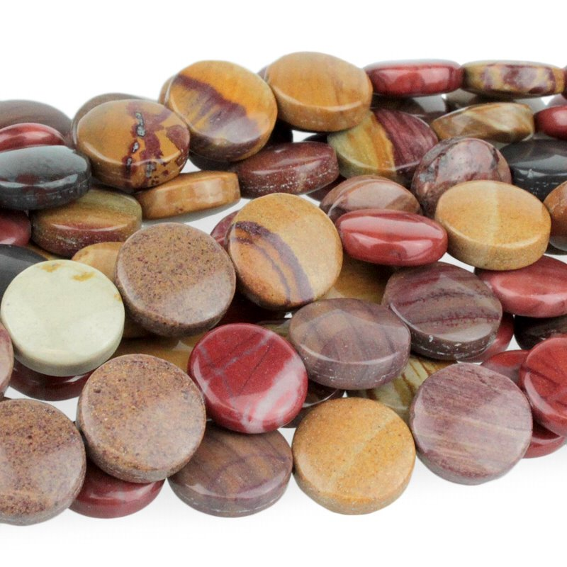 Stone Beads - 12mm Coin - Sunset Mookaite (strand)