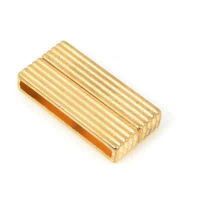 Magnetic Clasp - 38mm Ribbed Pattern Bar - Bright Gold Plated