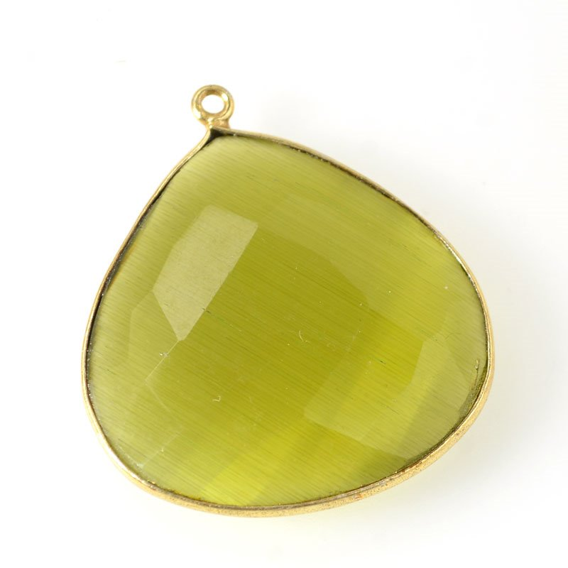 Stone Pendant - 28mm Faceted Pear Drop - Olive Green Chalcedony - Gold Plated