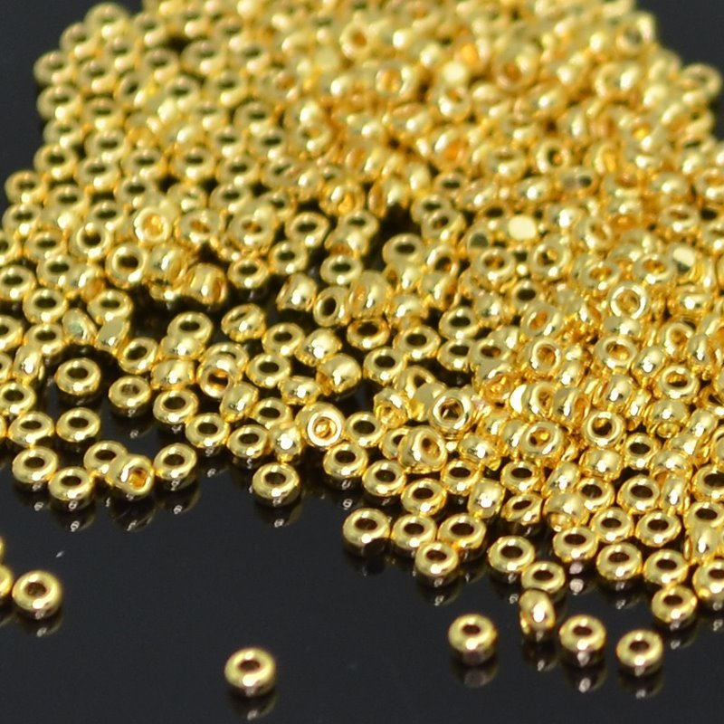 Seedbeads - 15/0 Charlotte - 24 Kt Gold Plated Glass (10 grams)