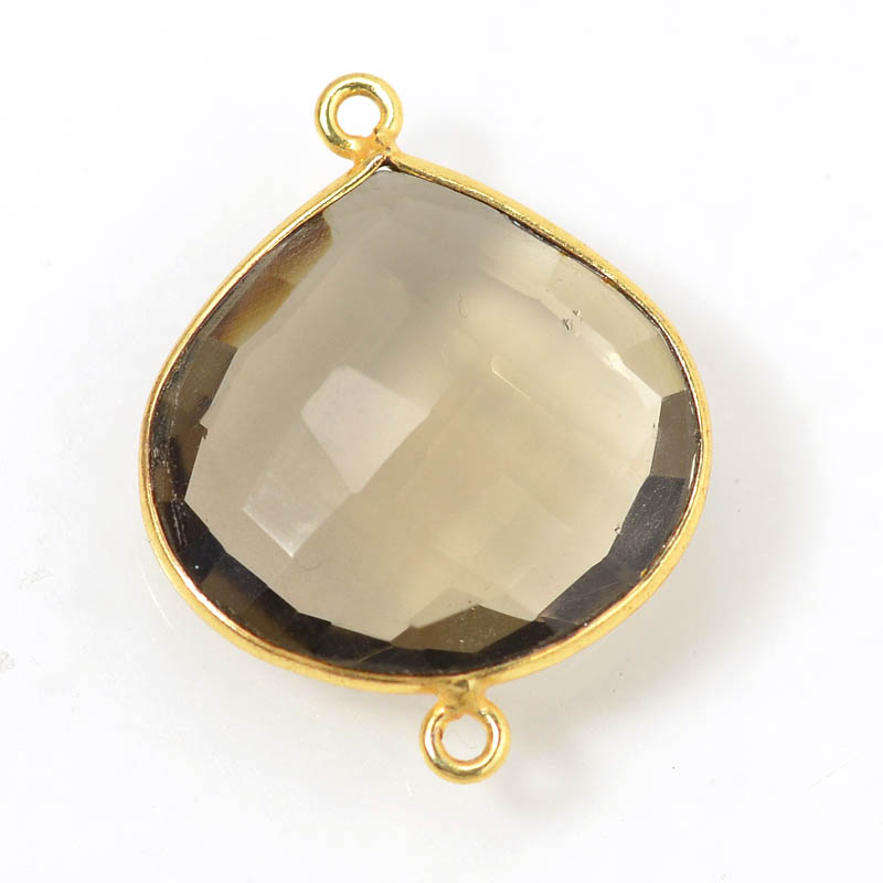 Link - 27mm Faceted Pear Drop - Smokey Quartz - Gold Plated