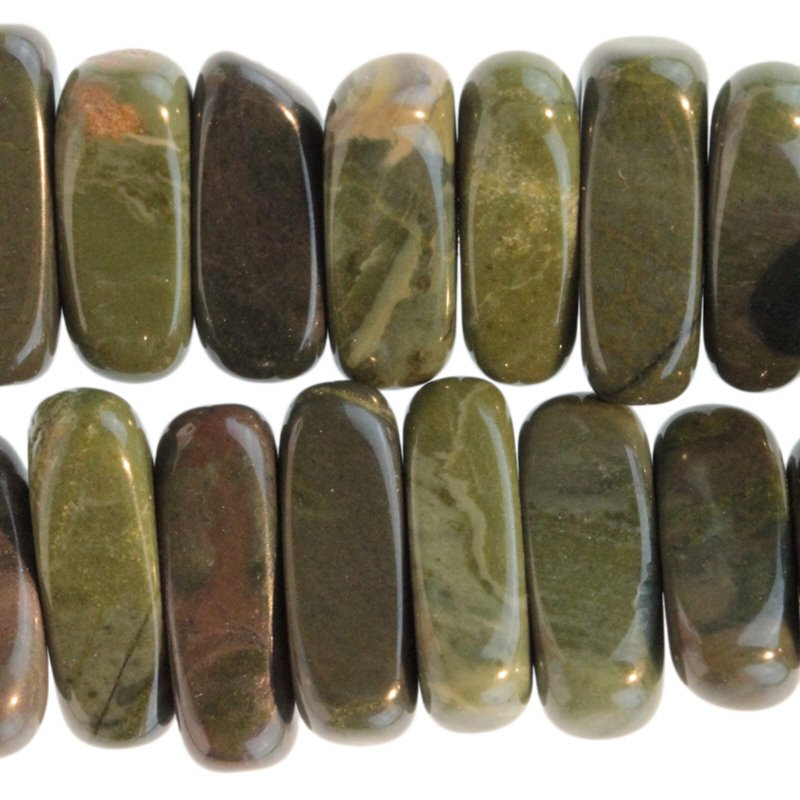 Stone Beads - 5x15mm Flat Chip - African Green Jasper (strand)